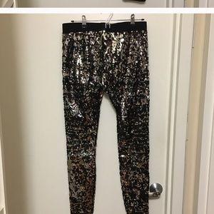 c5821265888ff Express Pants | Black And Silver Sequin Leggings | Poshmark